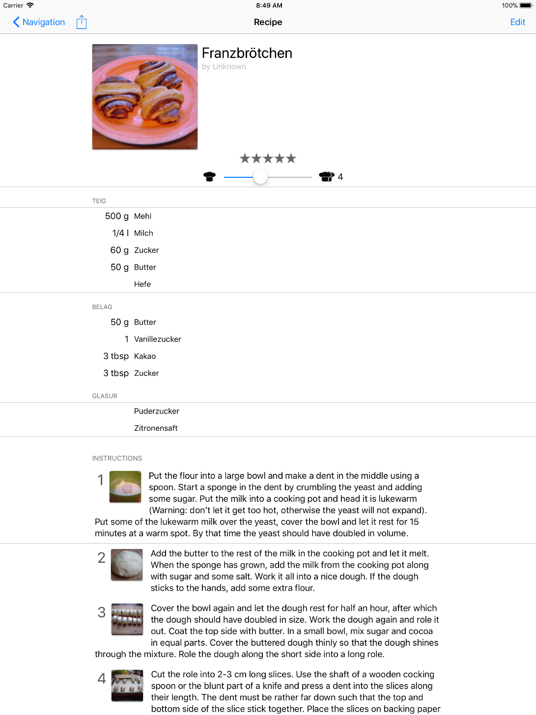 My Favorite Recipes iPad Pro Layout